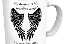 Brother Guardian Angel / Pendants, T-Shirts, Coffee Mugs, Necklaces, Bracelets, Hoodies.  Men's and Women's - All Colors, Sizes and Styles available / by Designs by Cali Kays
