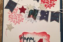 Stampin Up,  4th of July, 2015 / Stampin up July 4th. Night of navy real red banner punch star punch