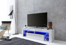 High gloss white TV Stands With Led Lights