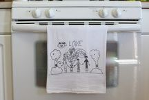 What to do with kids artwork / Trace on to tea towel other permanent marker