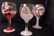 Handpainted  Christmas glasses