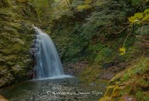 """Waterfall Splendour at Akame Shijūhachi Falls. / Akame Shijūhachi Taki (赤目四十八滝) is a collective name for numerous big and small cascades in the valley of about 4 km length, situated at the upstream of Taki River that flows at the border of Iga and Yamato. Among these waterfalls,""""Fudo-taki, Senju-taki, Nunobiki-taki, Ninai-taki, and Biwa-taki are called Akame-gobaku (赤目五瀑) and are especially beautiful."""