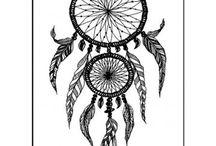 Tatouage plumes et attrape rêves
