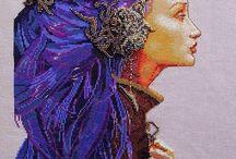 výšivka - fantasy - ženy,postavy aj.