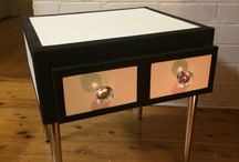 My beautiful pieces / Chanel style leather velvet trim side table ❤️