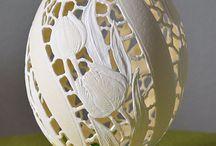 ażurowa pisanka strusia / naturalne jajko strusie , ręcznierzeźbione