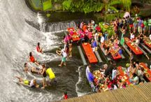 Eat Filipino food while having your feet submerged by a waterfall