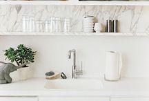 Home: Kitchen & Bath Renovation / White, black, and wood.
