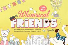 The Whimsical Friends Bundle / Our latest bundle is here!! Expect tons of fun & friendly characters & elements for all your design projects! Includes over 2500 elements, compositions, patterns, frames & more from 24 adorable graphics packs, perfect for scrapbooking, planner stickers, invitation cards, posters & more! Grab this bundle now for JUST $23, that's a massive savings of 92% off the regular price!!