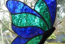 Mooie vlinder / Kleur groen  licht blauw