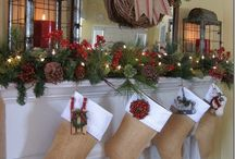 Winter Holiday Fireplace Decor