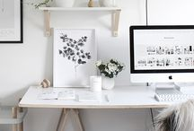 OFFICE DECOR INSPIRATION / Office inspiration. Ideas on how to decorate small spaces. Ideas on color palettes/ storage, home office ideas.