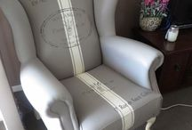 painted wing back chair