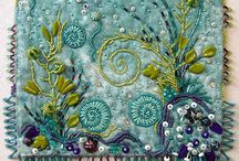 Mixed textiles / Mixture of fabric, embroidery, paper etc