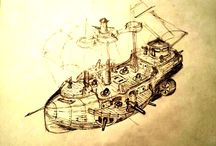 Sails in the sky (an indie steampunk project) / Here you can see the arts for an indie steampunk project which includes developing a board game, a computer RPG and TV-series