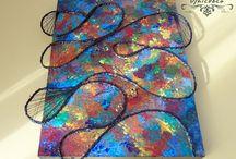 """""""Abstract Ocean Life"""" / - tablou Unicdeco lucrat manual - tablou decorativ pentru interior, lucrat manual, cu fundal din lemn pictat si elemente decorative din canepa, ata, vopsele acrylice, lacuit - dimensiune 22x28cm - in spate are o agatatoare metalica - se poate folosi atat ca si tablou cat si ca tabla decorativa - detalii pe privat"""