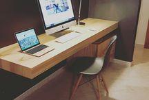 scrivania linear desk wood design italiano / scrivania di design costruita a mano in Italia dagli artigiani XLAB la fabbrica dele idee www.xlab.design