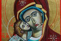 icoane pe lemn si sticla de Geanina Luminita Vatamanu / Un altfel de terapie: pictura sacra; ridica vibratiile conectand creatorul ( dar si privitorul) la lumile celeste