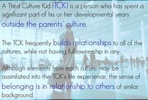 Third Culture Kid / A Third Culture Kid (TCK) is a person who has spent a significant part of his or her developmental years outside the parents' culture. The TCK frequently builds relationships to all of the cultures, while not having full ownership in any. Although elements from each culture may be assimilated into the TCK's life experience, the sense of belonging is in relationship to others of similar background.