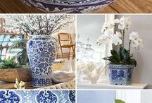 Blue and white pots styling