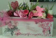 cutie lemn decoupage&flori de matase