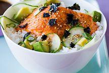 Lachs mit Zuchini und Reis