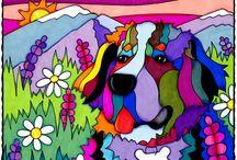 chien montagne coloré