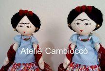 Boneca Frida Kahlo / Instagram: @atelie_cambiocco  WhatsApp: 19 982534219  Loja Virtual: www.elo7.com.br/ateliecambiocco