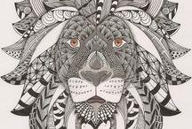 Leeuwenkop vooraanzicht / kleurplaat