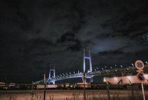 本牧埠頭から見たベイブリッジ。 It's The Yokohama Bay Bridge. #nightview #yokohama #bridge #yokohamabaybridge #ベイブリッジ #横浜 #本牧写真