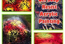Gel Dish Soap Resist Acrylic Painting