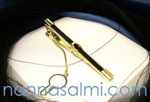 Tiebars and cufflinks - made for customers / Hand crafted, custom made tiebars and cufflinks with woven horsehair ribbon.