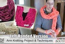 Left handed arm knitting