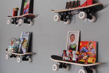 Boys bedroom scheme urban / cool kids room with skateboard, snowboard industrial theme