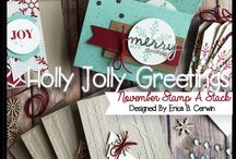 "Stampin' Up! - Holly Jolly Greetings / Items gemaakt met de stempelset ""Holly Jolly Greetings"". Uitgegeven in de Autumn/Holiday catalogus 2015"