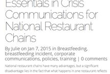 Executive Series | Blog Posts for Restaurant and Retail Executives / Working with national restaurant chains and retail to help write breastfeeding policies, employee lactation policies and train staff. Julie Hamilton also works as a crisis communications consultant in breastfeeding incidents.