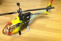 Elicotteri radio comandati / Fusoliere in fibra di vetro auto costruite