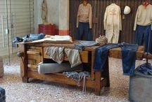 Show-room / Allestimenti di show-room d'abbigliamento con arredi di recupero, pezzi industriali o vintage.