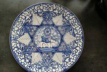 plateel handgeschilderd handpainted pottery / plates,  tiles and other / Hand&homemade by Marjan Snoep