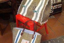 bags / tessuti dalla foggia vissuta per deliziose shopping bag..