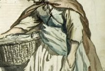 Techniques of Wearing Working Women's Clothing / A gathering of images to study how everyday working women's costume was worn. We want to study how Apron's were wrapped, skirts were tucked and caps mounted.