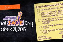 National SAVE Day / The National Association of Students Against Violence Everywhere (SAVE) invites you to participate in National SAVE Day! Mark your calendars for this important event to take place on October 19, 2016. This event occurs annually during the third full week in October during America's Safe Schools Week.