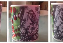 la jirafa-design on material / pintura expandida sobre objetos de uso cotidiano : cerámicas, cojines, sillas...