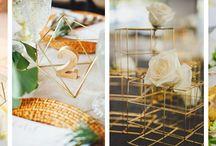 Geometryczne bryły na nowoczesnym przyjęciu / Geometryczne bryły i figury jako dekoracje przyjęcia weselnego