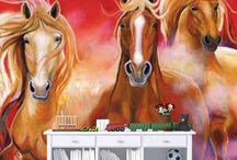 Horse Murals / Horse murals are a dashing way to dress up a wall and celebrate these majestic animals.  Choose from high-res pics, hand-painted original artwork or gorgeous graphic design wall murals.