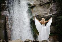 Trash the dress at waterfall / Trash the dress at waterfall, bride at waterfall, waterfall