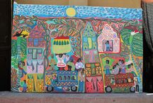 Magda Magloire, Haitian Artist / Magda Magloire was born in 1957 and is the daughter of Louisiane St. Fleurant, a founding member of the Saint Soeil school of painting. Magda began painting late, in the 1990's. Her style is vibrant and fresh - joyful scenes of daily life, acrylic on canvas. We met Magda several years ago in Haiti & have been collecting her work since.  To purchase a Magda Magloire painting, contact Molly@singingrooster.org