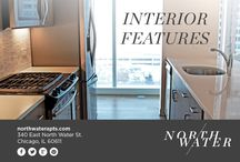 Interior Features at North Water Apartments / Elegantly finished with white oak flooring throughout the central living spaces, custom cabinets with slow glide closing hardware, quartz stone countertops, a full height stone backsplash, Kohler faucet and Whirlpool stainless steel appliances in the kitchens. Floor-to-ceiling windows let you take in sprawling city and water views.   Explore more of our interior features at www.northwaterapts.com/chicago-il-apartments/north-water-apartments/amenities.