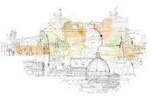 Wallpepper, latest illustrations / Watercolor illustrations for wallpaper, about Italy, Milan, fashion style and watercolor