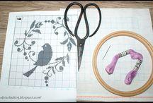 cross stitch bird - haft krzyżykowy ptak